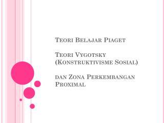 Teori Belajar  Piaget Teori Vygotsky  ( Konstruktivisme Sosial ) dan Zona Perkembangan  Proximal