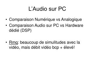 L�Audio sur PC