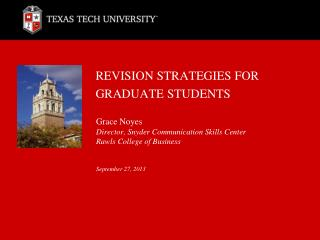 REVISION STRATEGIES FOR GRADUATE STUDENTS