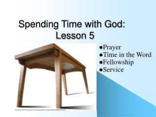 Spending Time with God:               Lesson 5