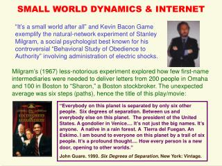 SMALL WORLD DYNAMICS & INTERNET
