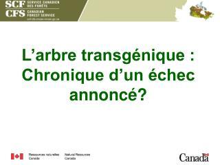 L arbre transg nique : Chronique d un  chec annonc