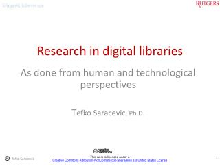Research in digital libraries