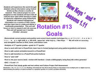 Rotation #13 Goals
