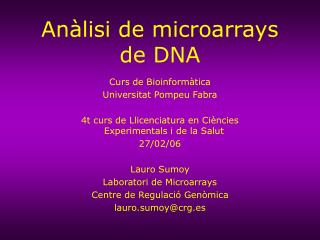 An�lisi de microarrays de DNA