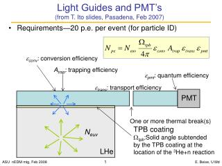 Light Guides and PMT's  (from T. Ito slides, Pasadena, Feb 2007)