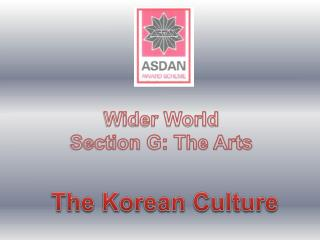 Wider World Section G: The Arts