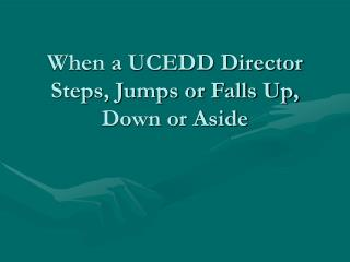 When a UCEDD Director Steps, Jumps or Falls Up, Down or Aside
