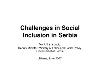 Challenges in Social Inclusion in Serbia