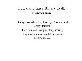Quick and Easy Binary to dB Conversion