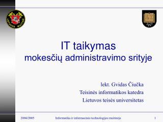 IT taikymas mokesčių administravimo srityje