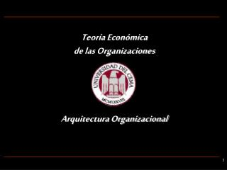 Teoría Económica de las Organizaciones Arquitectura Organizacional