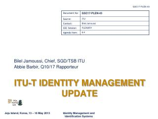 ITU-T IDENTITY MANAGEMENT UPDATE