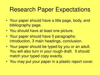 Research Paper Expectations