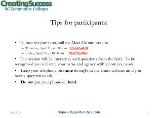 Tips for participants: