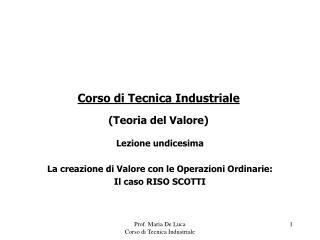 Corso di Tecnica Industriale Teoria del Valore