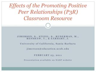 Effects of the Promoting Positive Peer Relationships (P3R) Classroom Resource