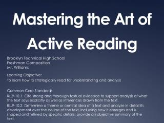 Mastering the Art of Active Reading