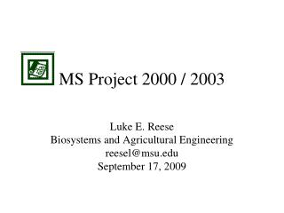 MS Project 2000 / 2003