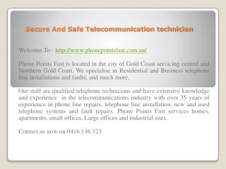 Secure And Safe Telecommunication technician