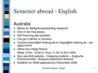 Semester abroad - English