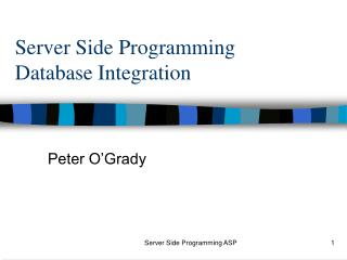 Server Side Programming Database Integration