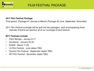 FILM FESTIVAL PACKAGE