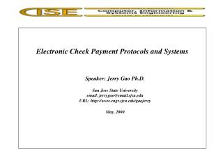 Electronic Check Payment Protocols and Systems