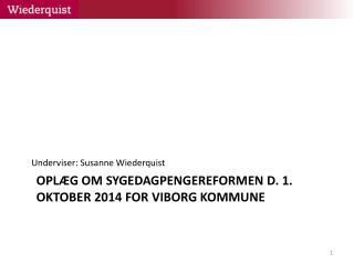 Oplæg om sygedagpengereformen d. 1. oktober 2014 for Viborg kommune