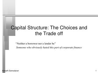 Capital Structure: The Choices and the Trade off
