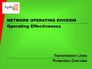 NETWORK OPERATING DIVISION Operating Effectiveness