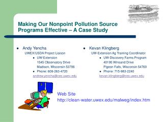 Making Our Nonpoint Pollution Source  Programs Effective – A Case Study
