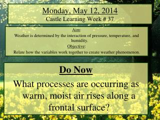 Monday, May 12, 2014 Castle Learning Week # 37