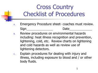 Cross Country Checklist of Procedures