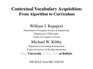 Contextual Vocabulary Acquisition: From Algorithm to Curriculum