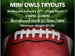 MINI OWLS TRYOUTS