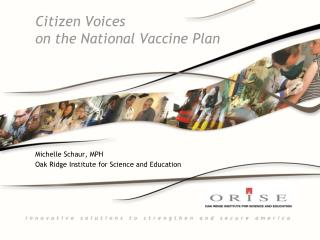 Citizen Voices  on the National Vaccine Plan