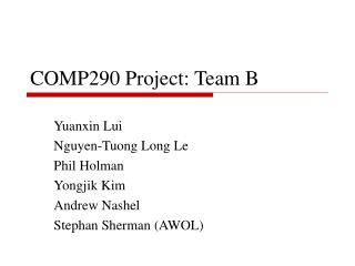 COMP290 Project: Team B