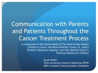 Communication with Parents and Patients Throughout the Cancer Treatment Process