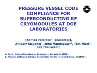 PRESSURE VESSEL CODE COMPLIANCE FOR SUPERCONDUCTING RF CRYOMODULES AT DOE LABORATORIES