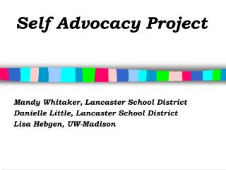 Self Advocacy Project