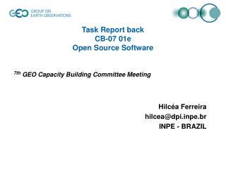 Task Report back  CB-07 01e Open Source Software