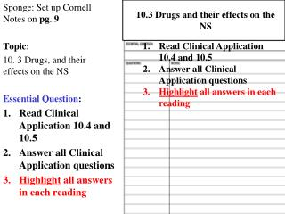 Sponge: Set up Cornell Notes on  pg.  9 Topic:  10. 3 Drugs, and their  effects on the NS