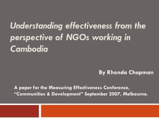 Understanding effectiveness from the perspective of NGOs working in Cambodia