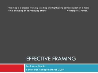 Effective Framing
