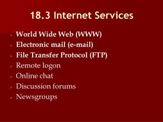 18.3 Internet Services