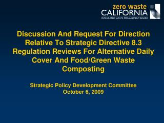 Strategic Directive 8.3