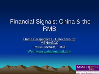 Financial Signals: China & the RMB