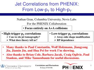 Jet Correlations from PHENIX:  From Low-p T  to High-p T