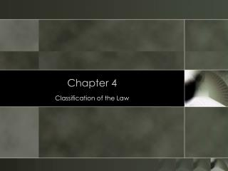 Classification of the Law